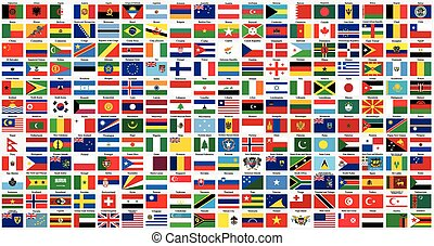 alfabético, mundo, bandeiras
