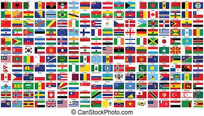 alfabético, mundo, banderas
