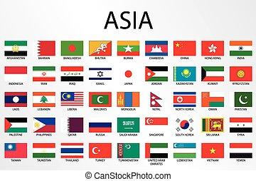 alfabético, país, bandeiras, para, a, continente, de, ásia