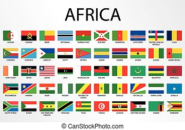 alfabético, país, banderas, para, el, continente, de, áfrica