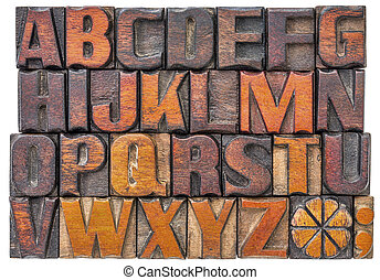 alfabet, abstract, in, hout, type