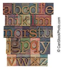 alfabet, abstrakcyjny, -, rocznik wina, drewniany, letterpress, typ
