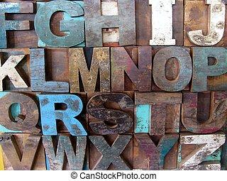 alfabet, abstrakcyjny, -, rocznik wina, drewniany, letterpress, types.