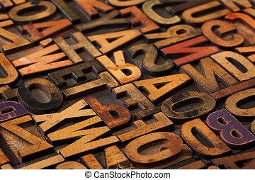 alfabet, abstrakcyjny, w, rocznik wina, druk blokuje