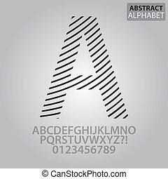 alfabet, abstrakcyjny, wektor, kreska, takty muzyczne