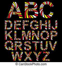 alfabet, abstrakt, vektor, randig, set.