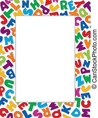 alfabet, achtergrond, frame, witte
