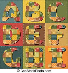 alfabet, album na wycinki, patchwork
