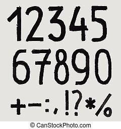 alfabet, alfabet, blackboard., hand, krijt, textured, ruige...