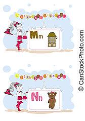 alfabet, alfabet, francais., francuski, n, wektor, m
