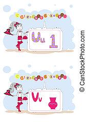 alfabet, alfabet, francais., francuski, u, wektor, v