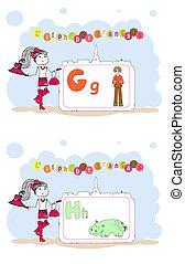 alfabet, alfabet, francais., francuski, wektor, h, g