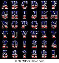 alfabet, amerikaan, black , metaal