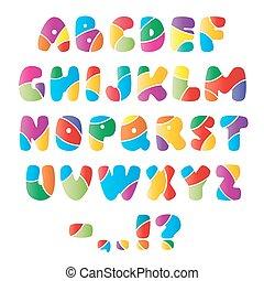 alfabet, artistiek, strepen, lettertype