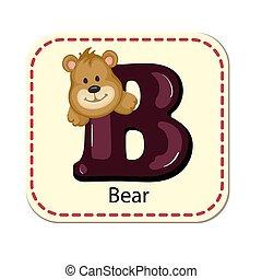 alfabet, b, vrijstaand, illustratie