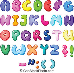 alfabet, bańka, 3d
