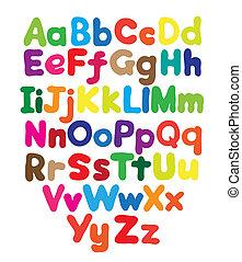 alfabet, bańka, barwny, ręka, rysunek