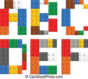 alfabet, baksteen, speelbal, brieven, spelend