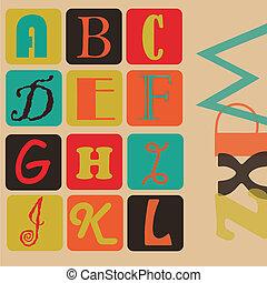 alfabet, barwny