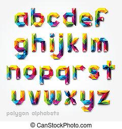 alfabet, barwny, wielobok, font.