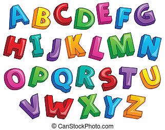 alfabet, beeld, 2, thema