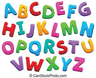 alfabet, beeld, 5, thema