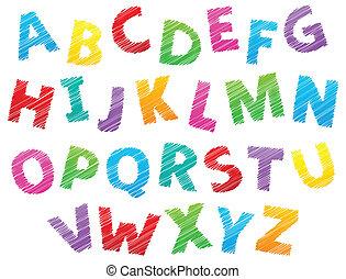 alfabet, beeld, thema, 3