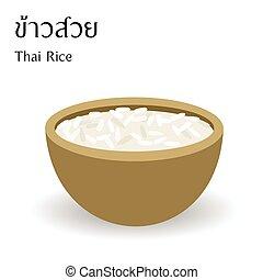 alfabet, betekenis, vector, achtergrond, witte rijst, thai