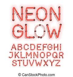 alfabet, biały, neon, tło, ogień