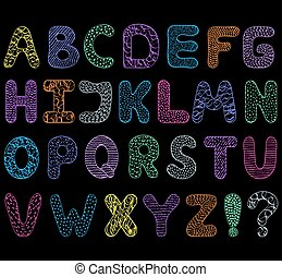 alfabet, black , achtergrond.