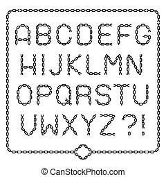 alfabet, black , compleet, ketting