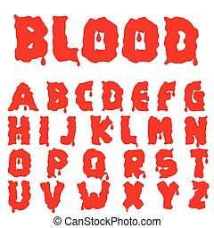 alfabet, blod, röd