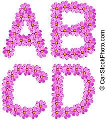 alfabet, bloem, brieven, vrijstaand
