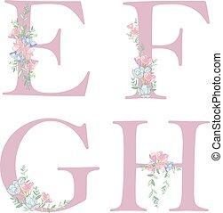 alfabet, bloem, c., brief