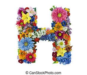 alfabet, bloem, -, h