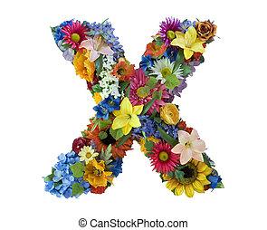 alfabet, bloem, -, x