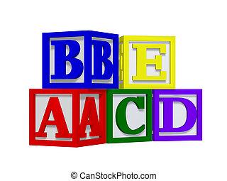 alfabet, blokjes, 3d