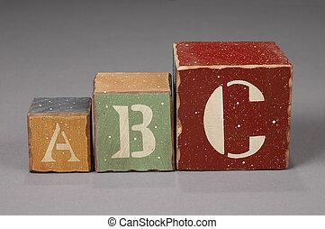 alfabet, blokjes, brief