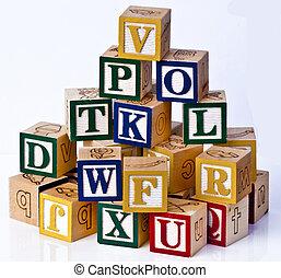 alfabet, blokjes, kinderen
