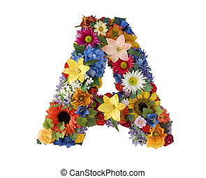 alfabet, blomma, -