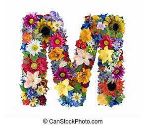 alfabet, blomma, -, m