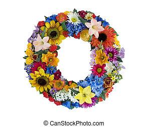 alfabet, blomma, -, nolla
