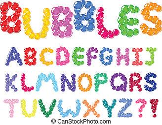 alfabet, bobler
