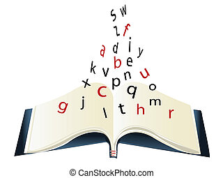 alfabet, boek, -