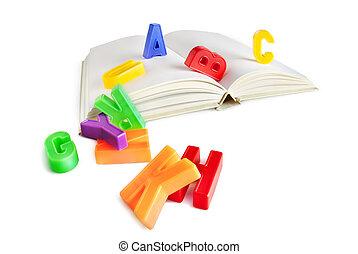 alfabet, boek, brieven, vrijstaand