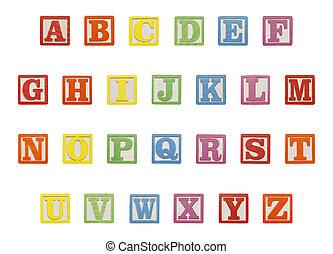 alfabet, bovenzijde, blokjes