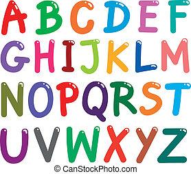 alfabet, breve, farverig, hovedstad