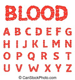 alfabet, breven, blod