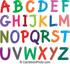 alfabet, breven, färgrik, huvudstad