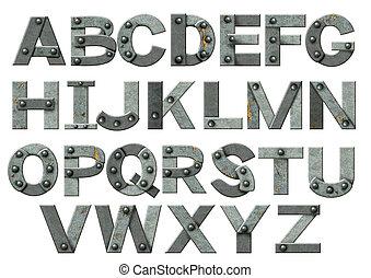 alfabet, -, breven, från, rostig metall, med, nitar